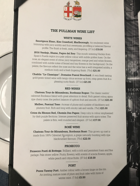 [GWR Pullman menu drinks]