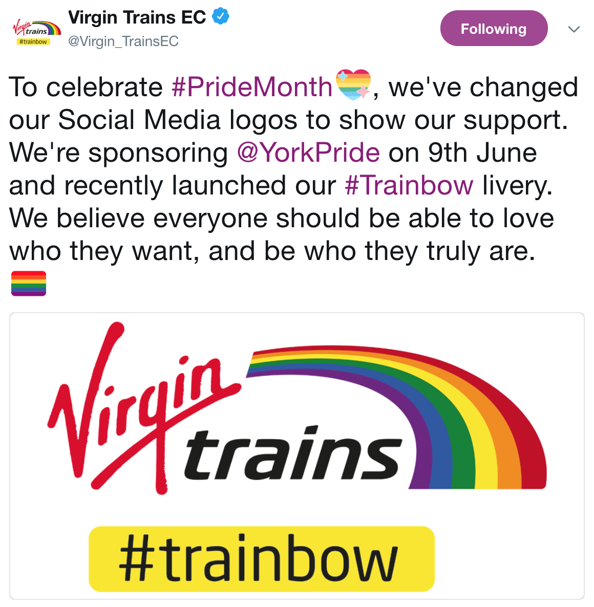 To celebrate #PrideMonth, we've changed our Social Media logos to show our support. We're sponsoring @YorkPride on 9th June and recently launched our #Trainbow livery. We believe everyone should be able to love who they want, and be who they truly are.