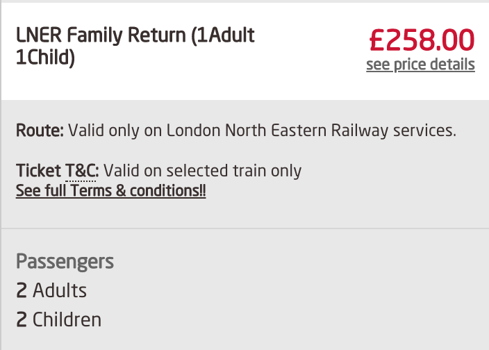 Family ticket 2 adults 2 children