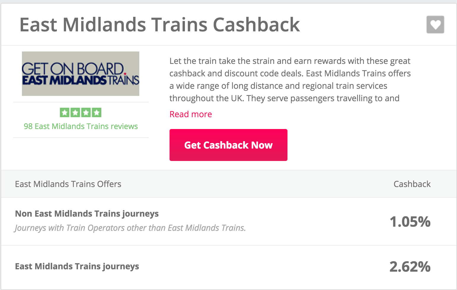 East Midlands Trains cashback